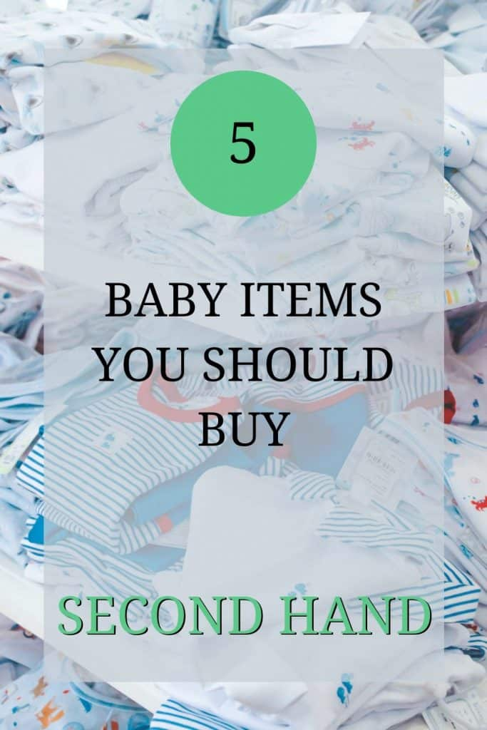 The image shows a pile of second hand baby stuff. There's a pile of blue and white baby grows. Over the image the text reads: '5 baby items you should buy second hand'.