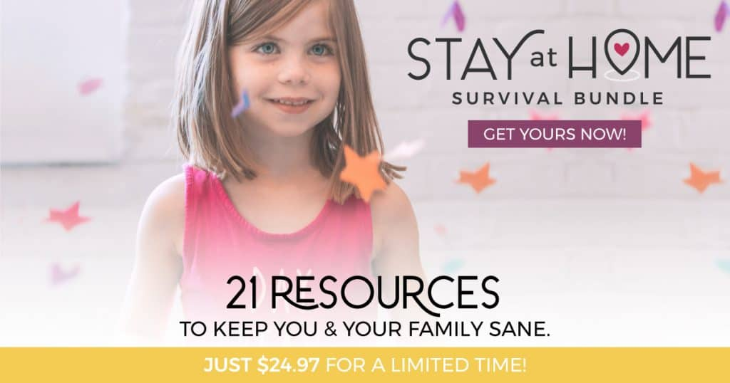 The image shows a little girl in a pink dress. The text around the image is advertising a bundle of resources that will help to keep the family happy when stuck at home.