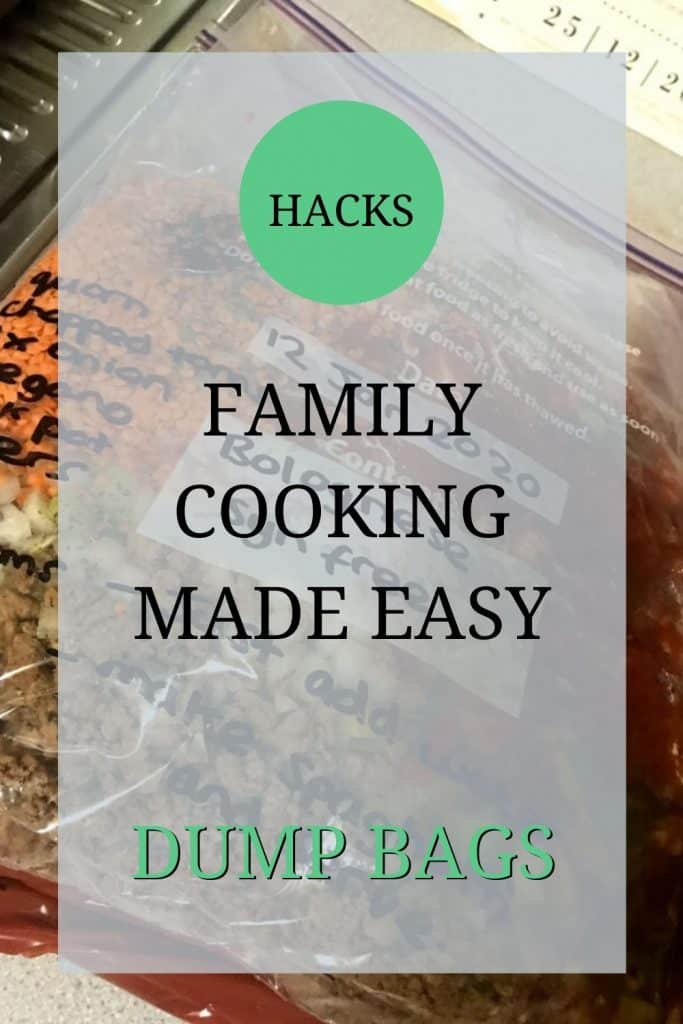 The image shows the ingredients needed for a vegetarian bolognaise including vegetarian mince, lentils, onions and tomatoes, in a freezer bag. These bags are often refereed to as dump bags for the slow cooker. Over the image text reads: 'hacks – family cooking made easy – dump bags'.