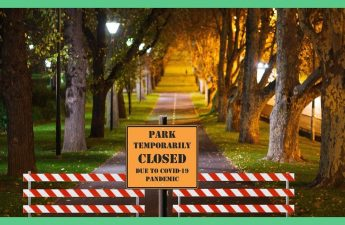 The picture shows a sign at the front of a tree-lined road, saying its closed due to a pandemic. The image is being used in an article about lessons we can carry forward with us as we are leaving lockdown. The image has a green boarder.