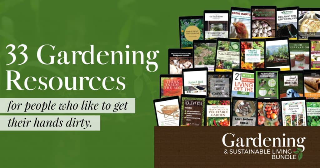 The image is green and the text over it is advertising a gardening bundle.
