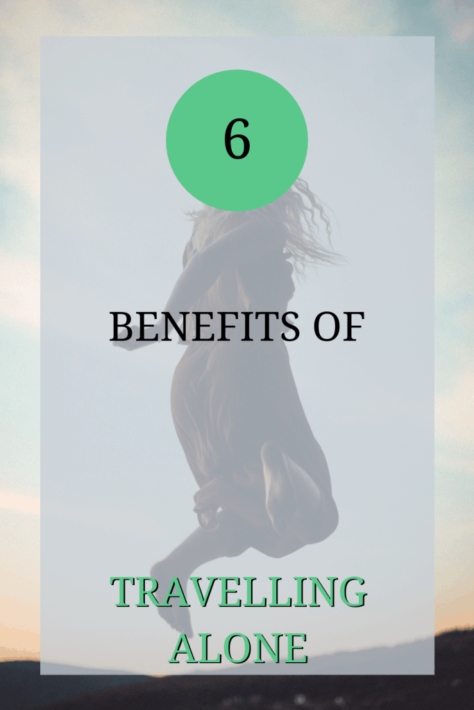 The image shows a woman jumping in the air. Over the image, the text reads: '6 benefits of travelling alone'.
