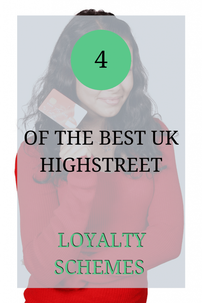 The image shows a woman in a red jumper holding a plastic card. Over the image the text reads: '4 of the best UK highstreet loyalty schemes'.