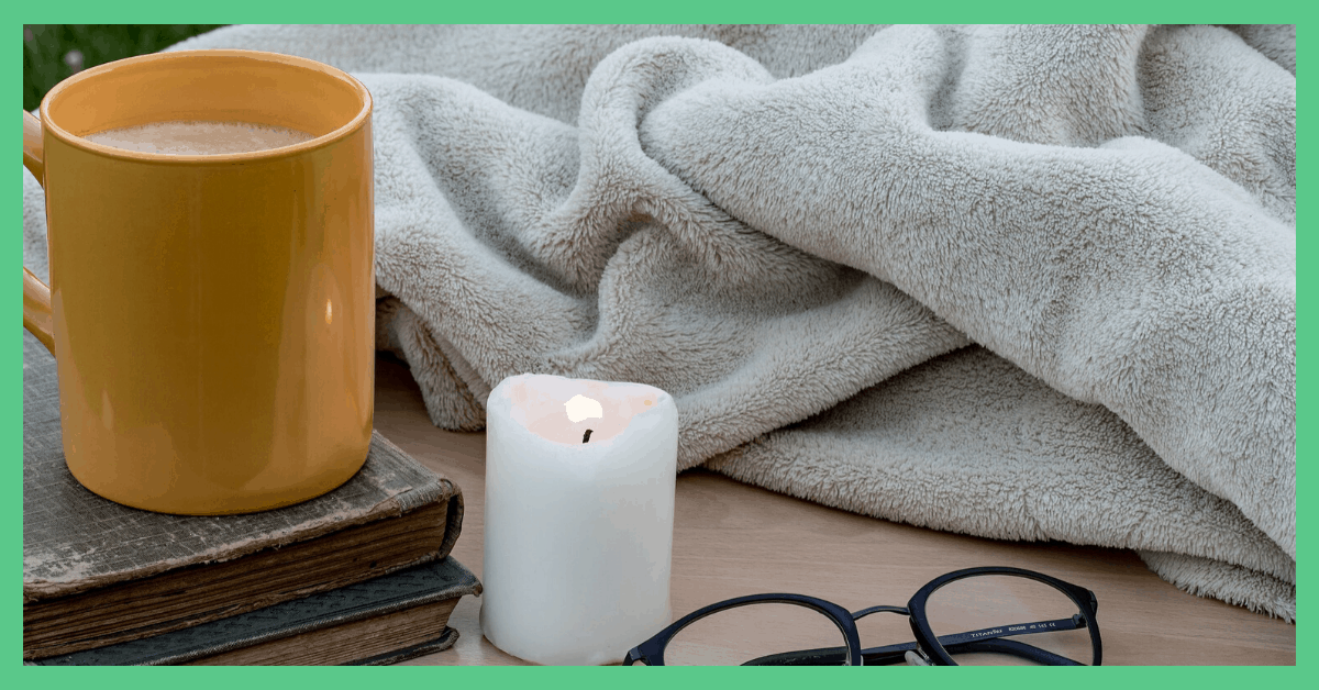 A mug, a candle and a blanket. Things you could expect to find in a calm box.