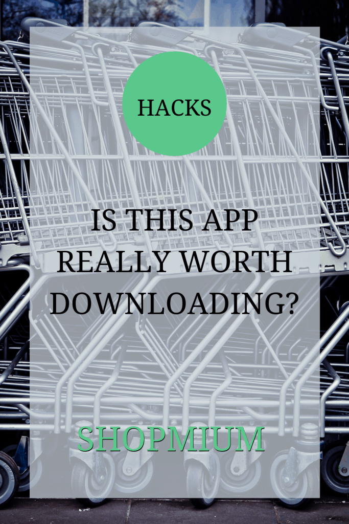 The image shows a stack of shopping trolleys. Over the image the text reads: 'Hacks: is this app really worth downloading? Shopmium'.
