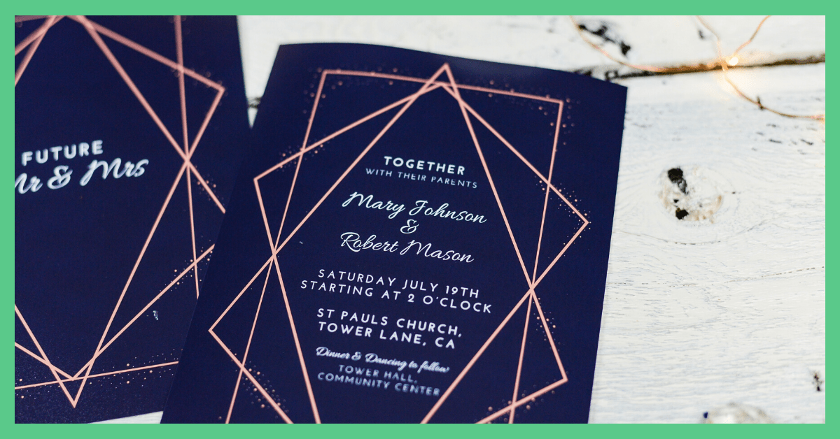 Blue and rose gold wedding invitations.