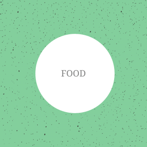 The image shows a green background with spots on. On top of the image, the text reads: 'food'.
