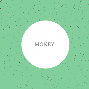 The image shows a green background with spots on. On top of the image, the text reads: 'money'.