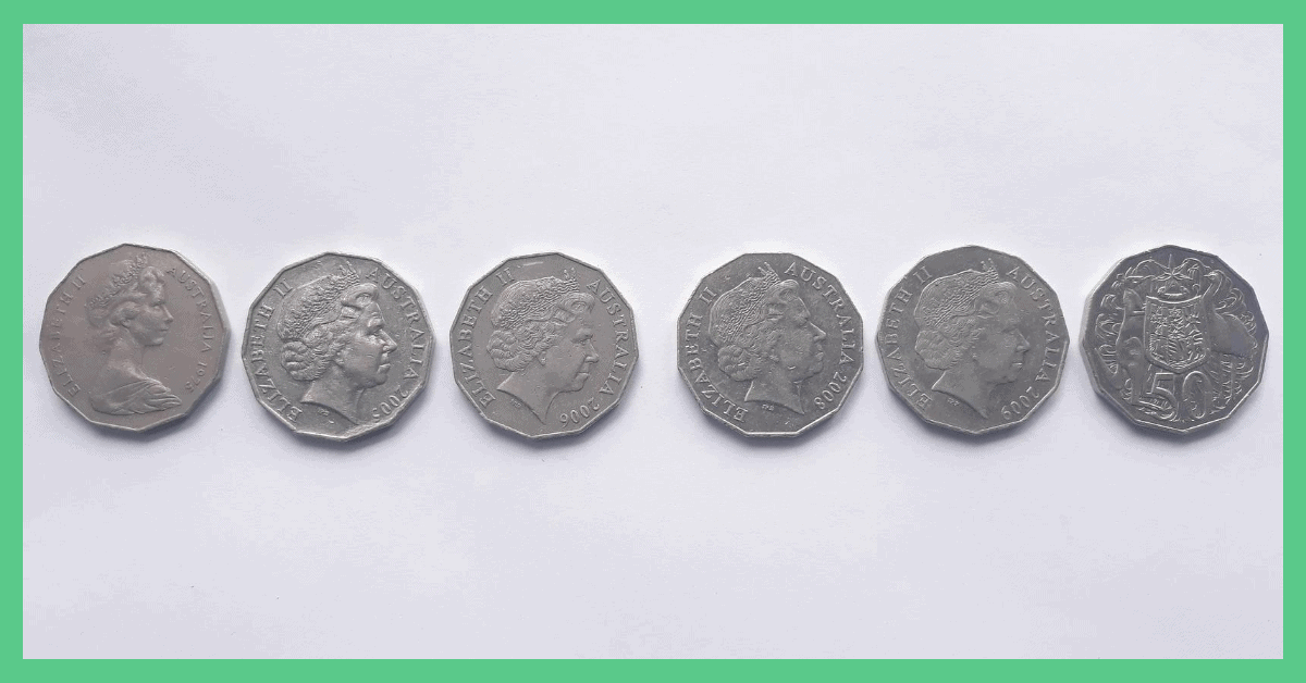 This image shows six 50 pence pieces (GBP). The image has a green border. The image is being used as a feature image on an article about free money in the UK.