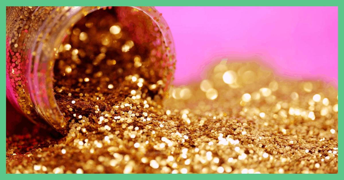 Pot of gold glitter open on its side.