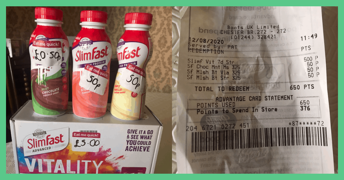 The image shows some discounted SlimFast 321 products alongside a receipt. The image has a green border.
