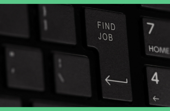The image is being used in an article about coping with redundancy. It shows a black keyboard and on it there is a return key that has 'find job' written on it. The image has a green border.