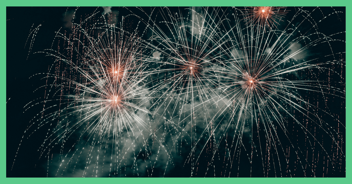 Fireworks, exploding against a dark sky.