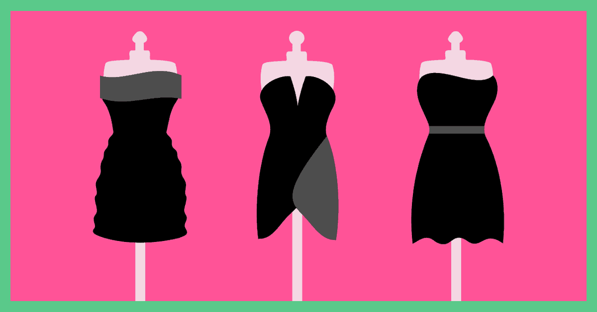 Three black dresses on mannequins. The image has a pink background and a green border.