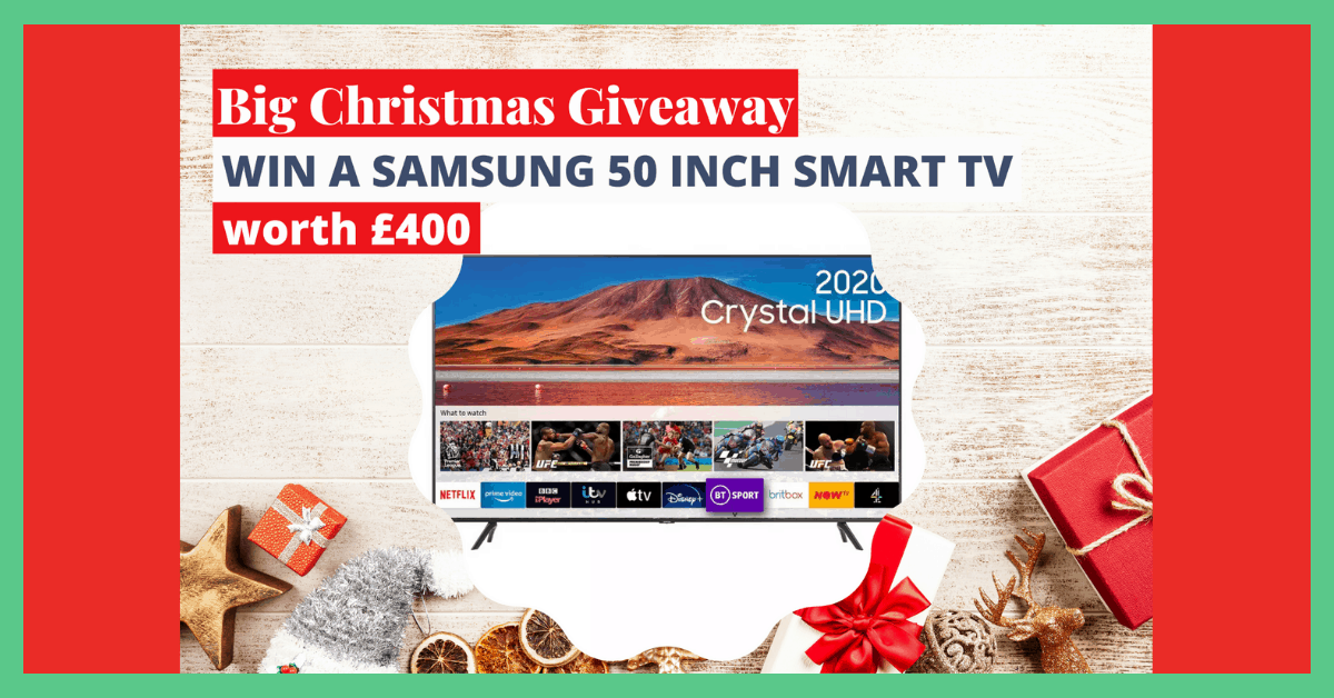 The image shows a television and over the image the text reads: 'A Christmas giveaway: a Samsung 50 inch smart TV worth £400.' The image has a green border.