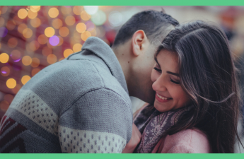 The image shows a man and a woman kissing next to a Christmas tree. The image has a green border.