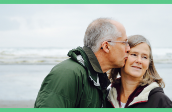The image shows a man kissing a woman's cheek. The picture has a green border.