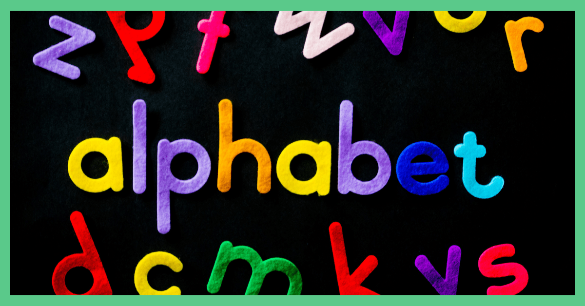 The image shows alphabet letters and spells out teh word 'alphabet'. The image is being used to illustrate an article about alphabet dating.