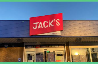 Jack's supermarket storefront. The image has a green border.