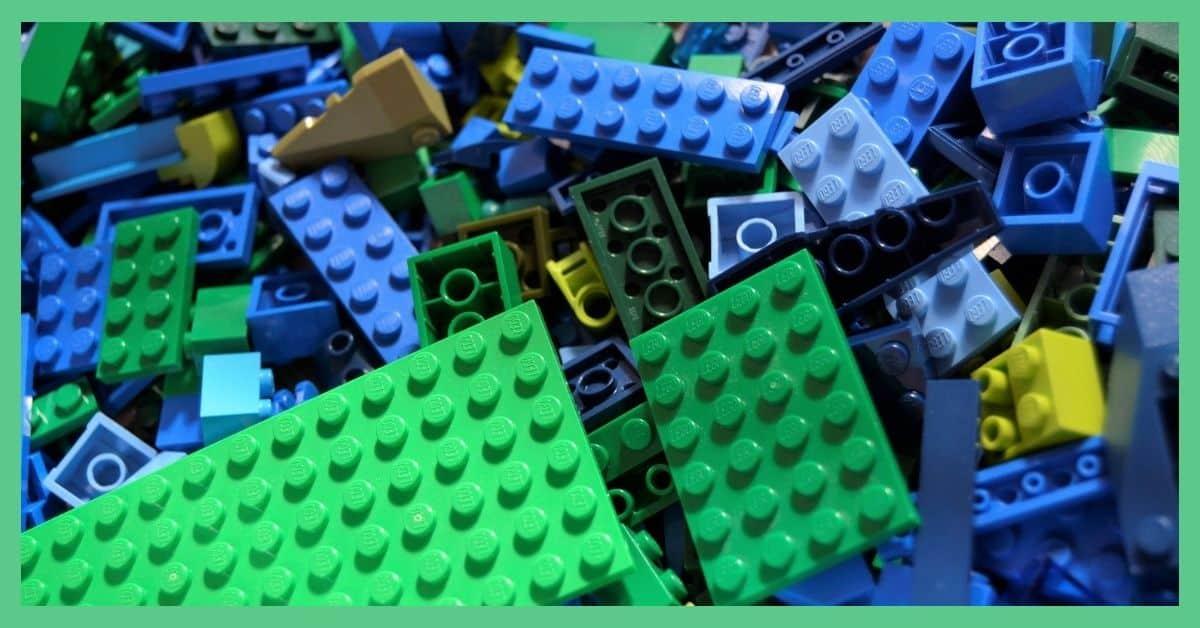 A toy storage bag for LEGO and Stickle Bricks.